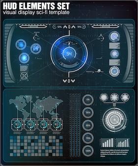 未来的なユーザーインターフェイス。 hud ui。抽象的な仮想グラフィックタッチユーザーインターフェイス。インフォグラフィック。