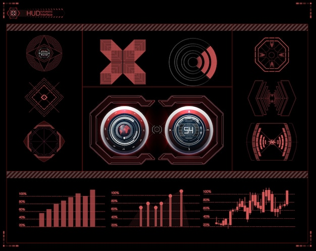 Futuristic user interface. hud ui. abstract virtual graphic touch user interface.  science abstract.  illustration.