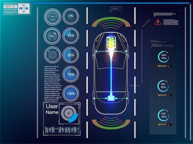 Футуристический пользовательский интерфейс. hud ui. абстрактный виртуальный графический интерфейс пользователя касания.