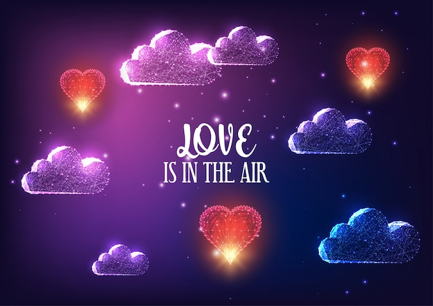 Futuristic valentines day concept with glowing clouds, red flying hearts