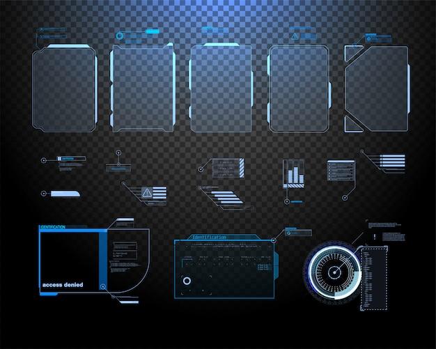 Футуристический дизайн экрана интерфейса hud вектора. названия цифровых выносков.