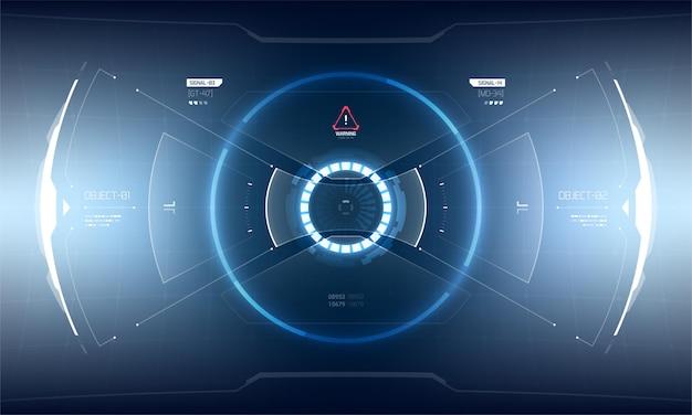 未来的なベクトルhudインターフェース画面のデザイン。 sci-fiバーチャルリアリティテクノロジービューディスプレイ
