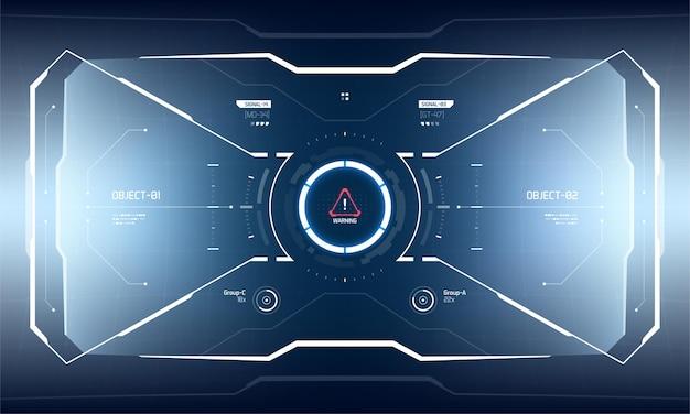 未来的なベクトルhudインターフェイス画面のデザイン。 sci-fiバーチャルリアリティテクノロジービューディスプレイ