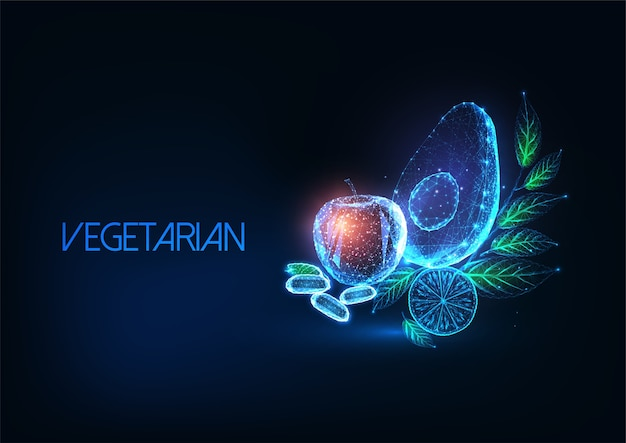 Futuristic vegetarian or vegan diet concept with glowing low polygonal avocado, apple, lemon, beans and greens on dark blue background. modern wireframe mesh  .