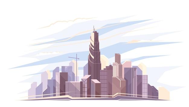 Футуристический вид на город. город с высокими небоскребами на ярком фоне с облаками. прекрасный вид на жилую архитектуру.
