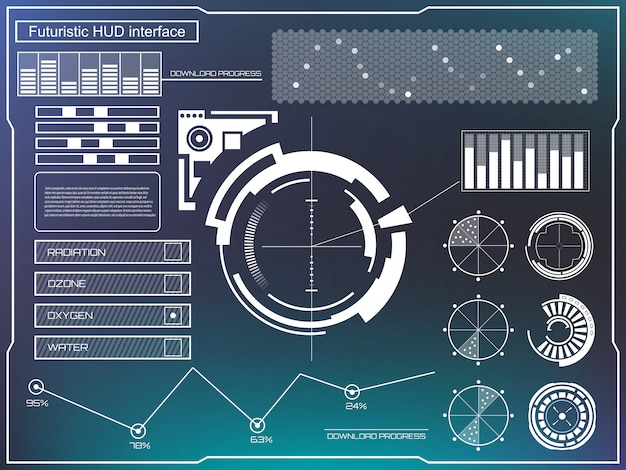 Futuristic virtual touch user interface hud.