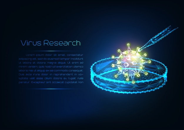 Futuristic virus research concept with glowing low polygonal virus cell, dropper and petri dish