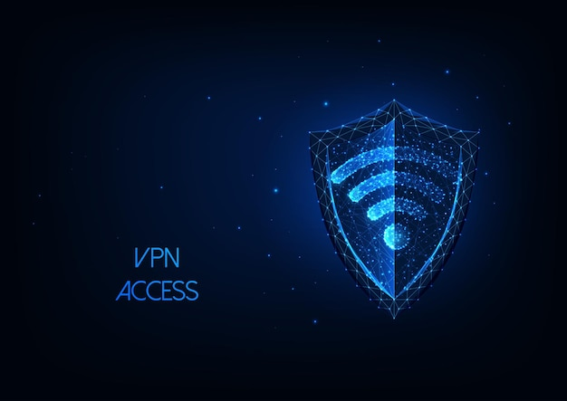 Futuristic vpn cvirtual private network oncept with glowing low polygonal shield and wifi symbol.
