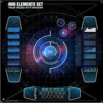 미래형 vr 헤드 업 디스플레이 디자인. 공상 과학 헬멧 hud. 미래 기술 디스플레이 디자인.