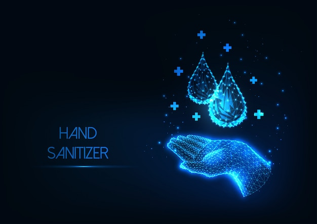 Futuristic washing hands with antiseptic liquid web banner