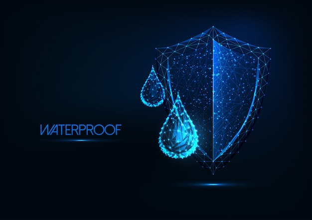 Futuristic waterproofing . glowing low poly water drops and shield on dark blue background.