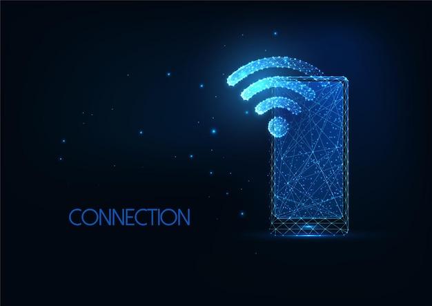 輝く低polygonaスマートフォンとwi-fiシンボルを備えた未来的なwifiネットワークの概念