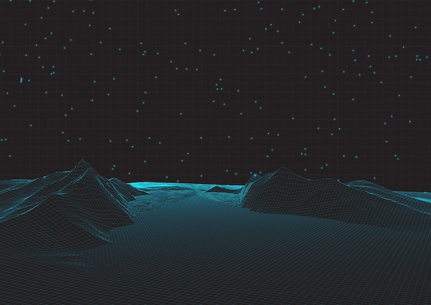 Futuristic wireframe landscape on grid