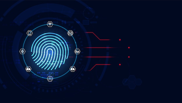 Futuristic with finger prints concept. theft detection