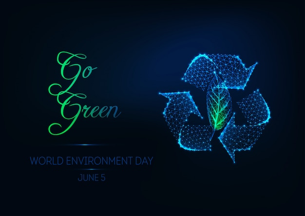 Futuristic world environment day web banner with glowing low polygonal recycle sign and green leaf.