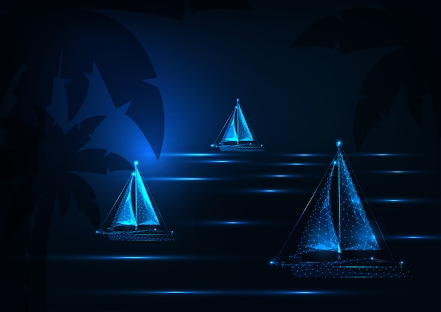Futuristic yachting regatta concept with glowing low polygonal sailing boats competition in night tropical sea landscape on dark blue background.