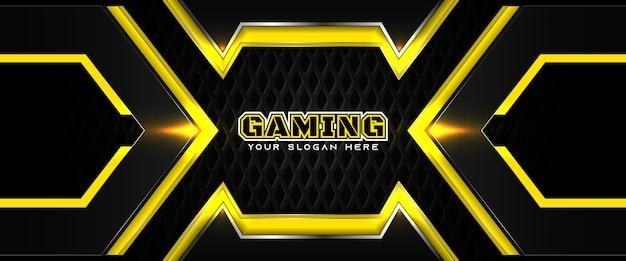 未来的な黄色と黒のゲームヘッダーソーシャルメディアバナーテンプレート