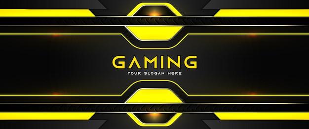 미래의 노란색과 검은 색 게임 헤더 소셜 미디어 배너 템플릿