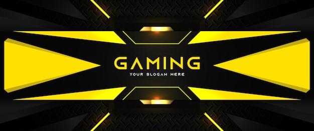 Футуристический желтый и черный игровой заголовок шаблон баннера в социальных сетях