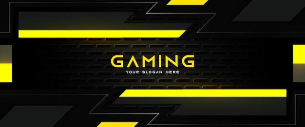 미래의 노란색과 검은색 게임 헤더 소셜 미디어 배너 템플릿