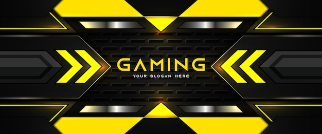 Futuristic yellow and black gaming header social media banner template
