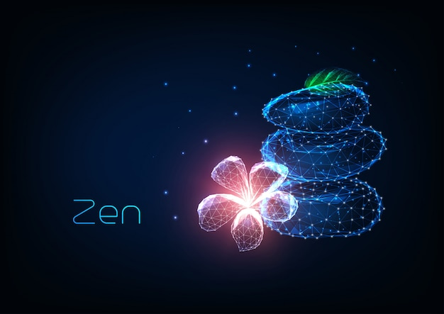Futuristic zen concept with glowing low polygonal balancing stones, pink plumeria flower