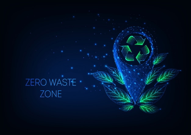 Futuristic zero waste zone  with glow low poly location marker, recycle sign, green leaves.