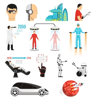Futurology set of characters and elements