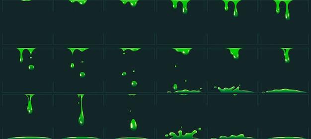 Капает зеленая анимация слизи. мультфильм анимированные токсичные жидкие отходы. кислота или яд капельного fx спрайт векторная иллюстрация