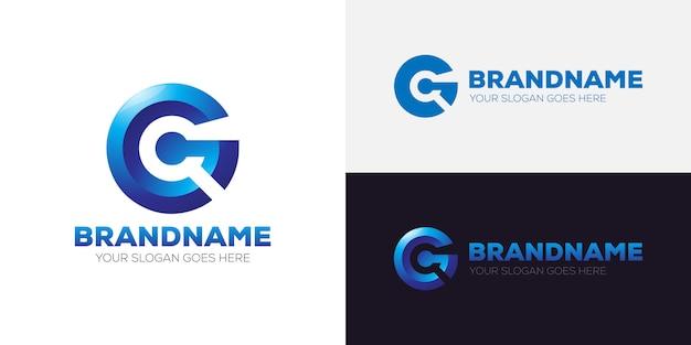 Буква g 3d логотип фирменный шаблон фирменного стиля