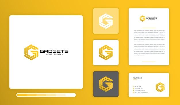 Gアルファベットのロゴのデザインテンプレート