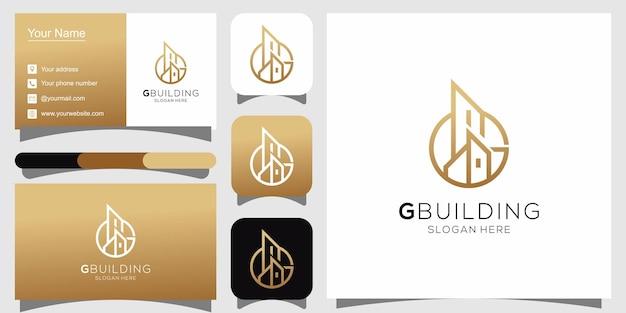 Логотип здания g и визитная карточка