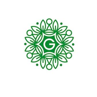 Буквица g eco цветочный логотип шаблон векторной иллюстрации