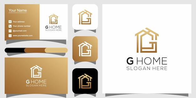 G home logo design and business card