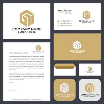 Gi письмо логотип концептуальный дизайн