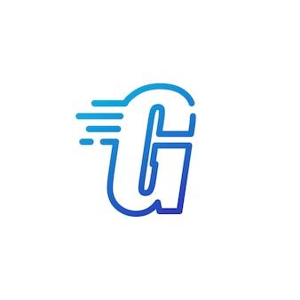 G letter dash fast quick digital mark line outline logo vector icon illustration