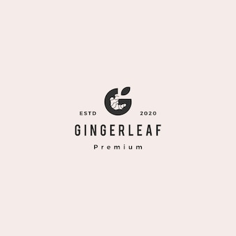 G letter ginger logo hipster retro vintage icon in negative space style