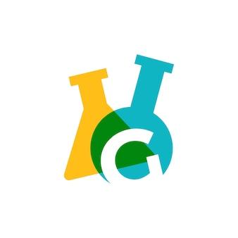 G letter lab laboratory glassware beaker logo vector icon illustration
