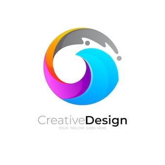 G文字のロゴと波のデザインの組み合わせ、カラフルなイラストのロゴ