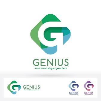G letter logo., g letter in harmony color rectangle badge
