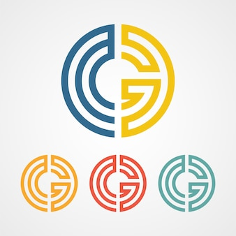 G letter maze logo icon with various color