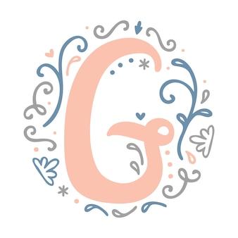 ' g ' letter monogram design -  feminine style alphabet letter floral round clipart