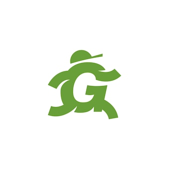 G letter running people with a cap in delivery logo