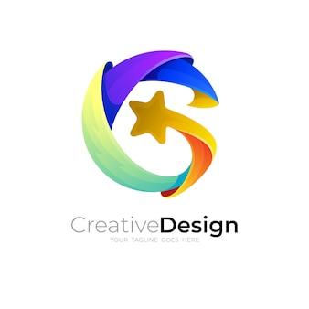 Gロゴとスターデザインの組み合わせ、カラフルなスタイル