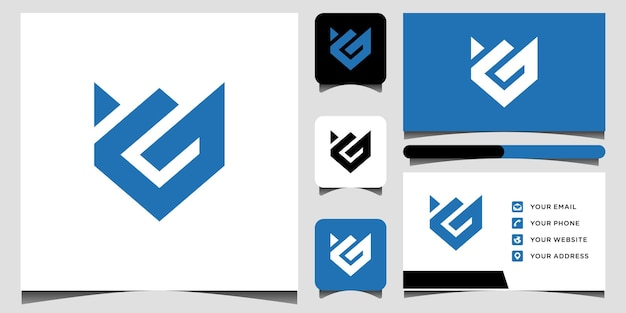 G logo and business card template premium vector