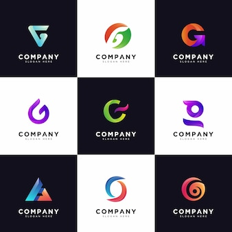 G logo collection , gradient company capital letter g logos