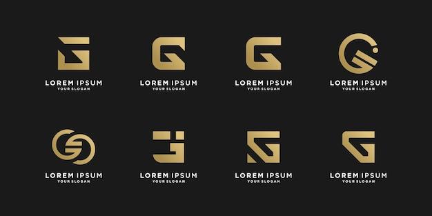 G logo collection with golden creative style premium vector