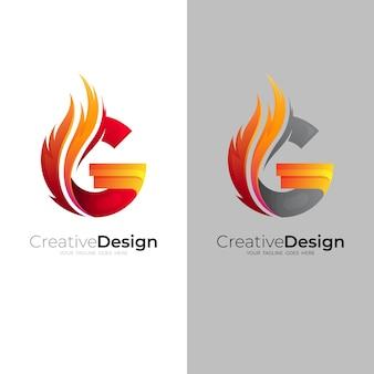 G logo and fire design combination, red color Premium Vector