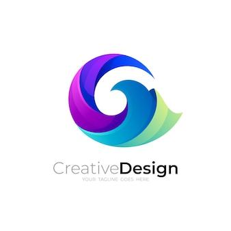 Gロゴ、文字gロゴと波のデザインの組み合わせ、青色