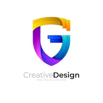 G logo and shield design vector, colorful style
